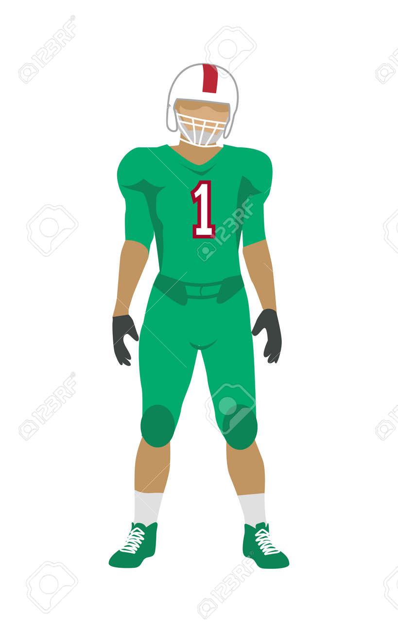 Fútbol Americano. Jugador De Fútbol En Uniforme Verde 9296b4bf3dedf
