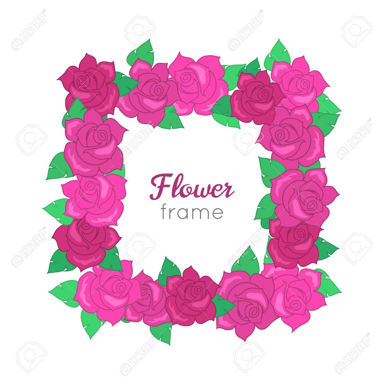 b38e813d4c Flower frame. Squar wreath of different blossoms. Green leaves. Colourful  selection of flowers