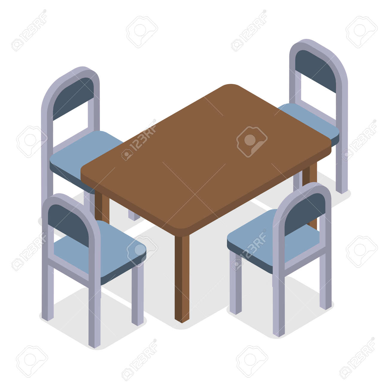 Silla y mesa de diseño isométrico. Silla de la mesa de comedor aislada,  muebles isométricos, interior del sitio, muebles interiores del hogar y ...