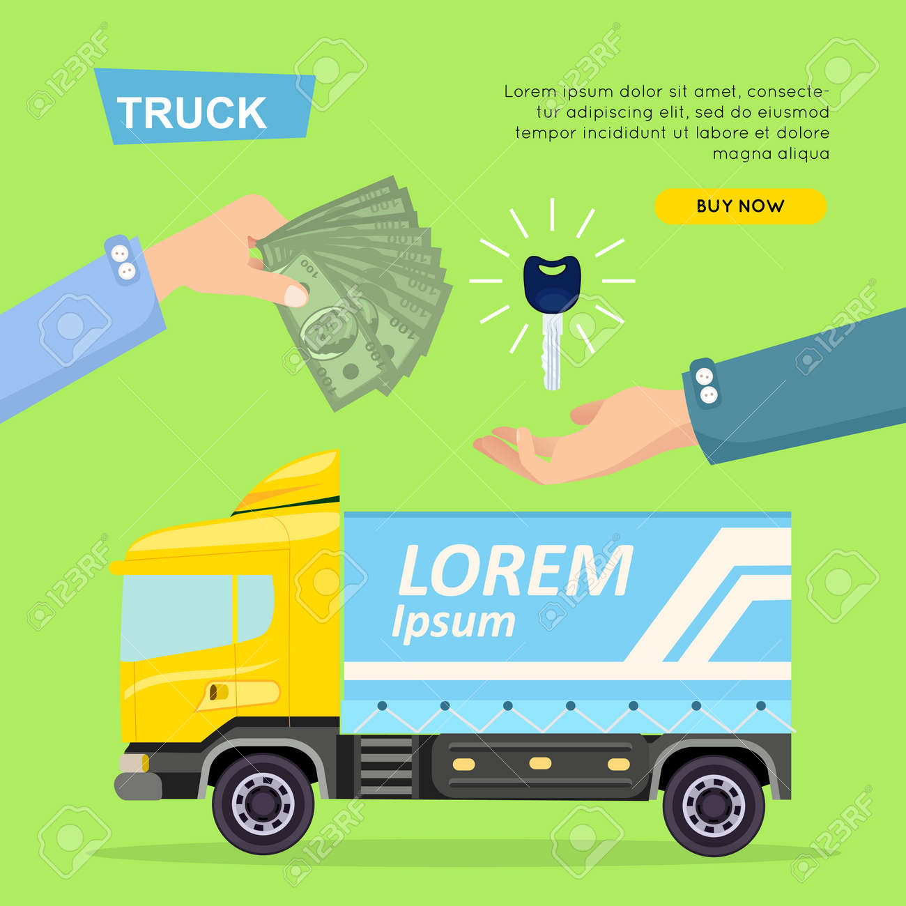 Buying Truck Online. Car Sale. Web Banner. Vector Royalty Free ...