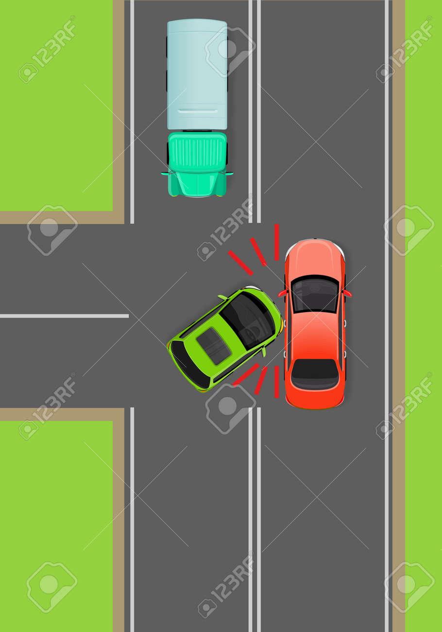 Zusammenstoß Von Autos Auf T-Junction Flat Vector Diagramm ...