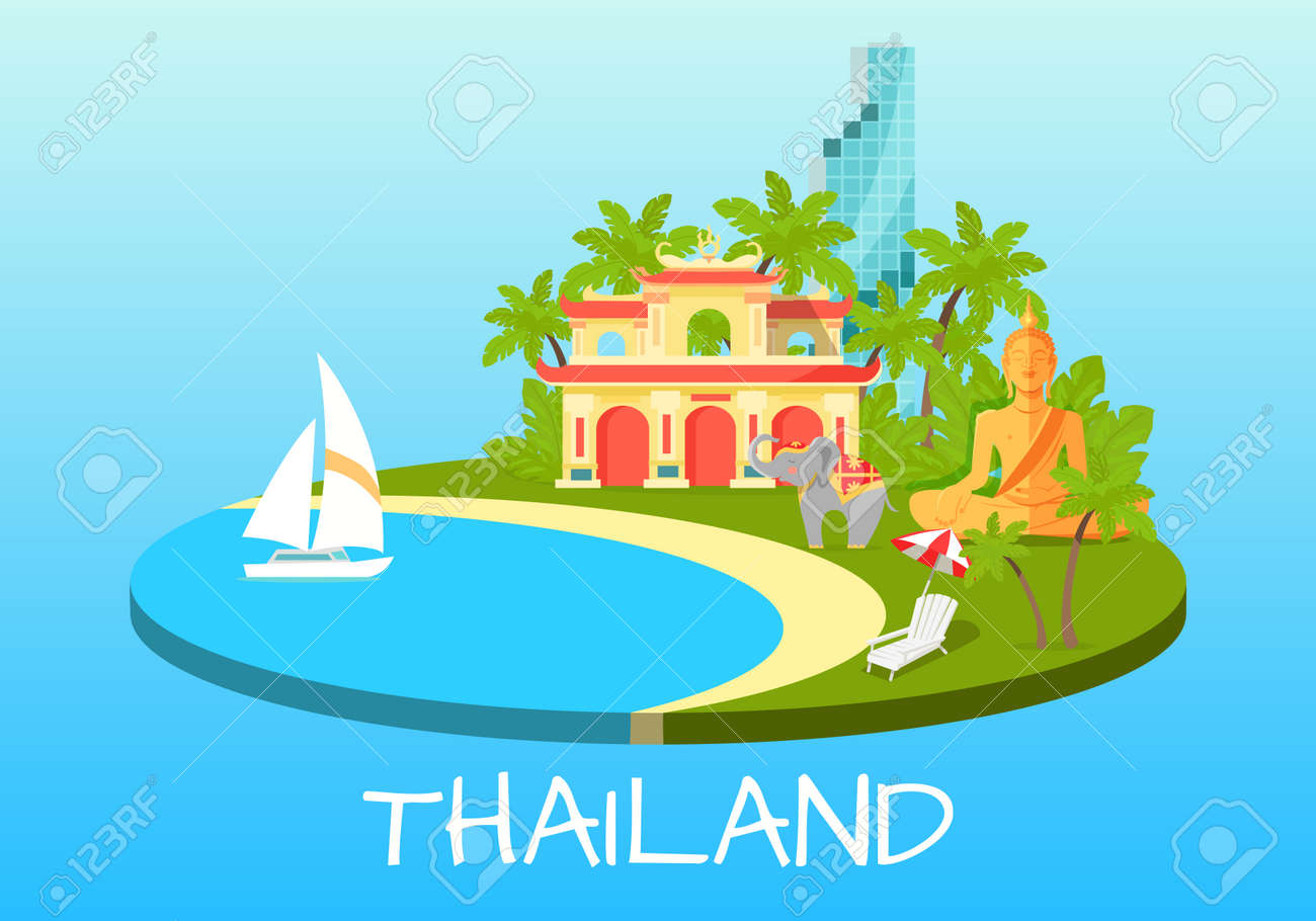 Thailand touristic concept with national symbols royalty free thailand touristic concept with national symbols stock vector 73536532 biocorpaavc Images