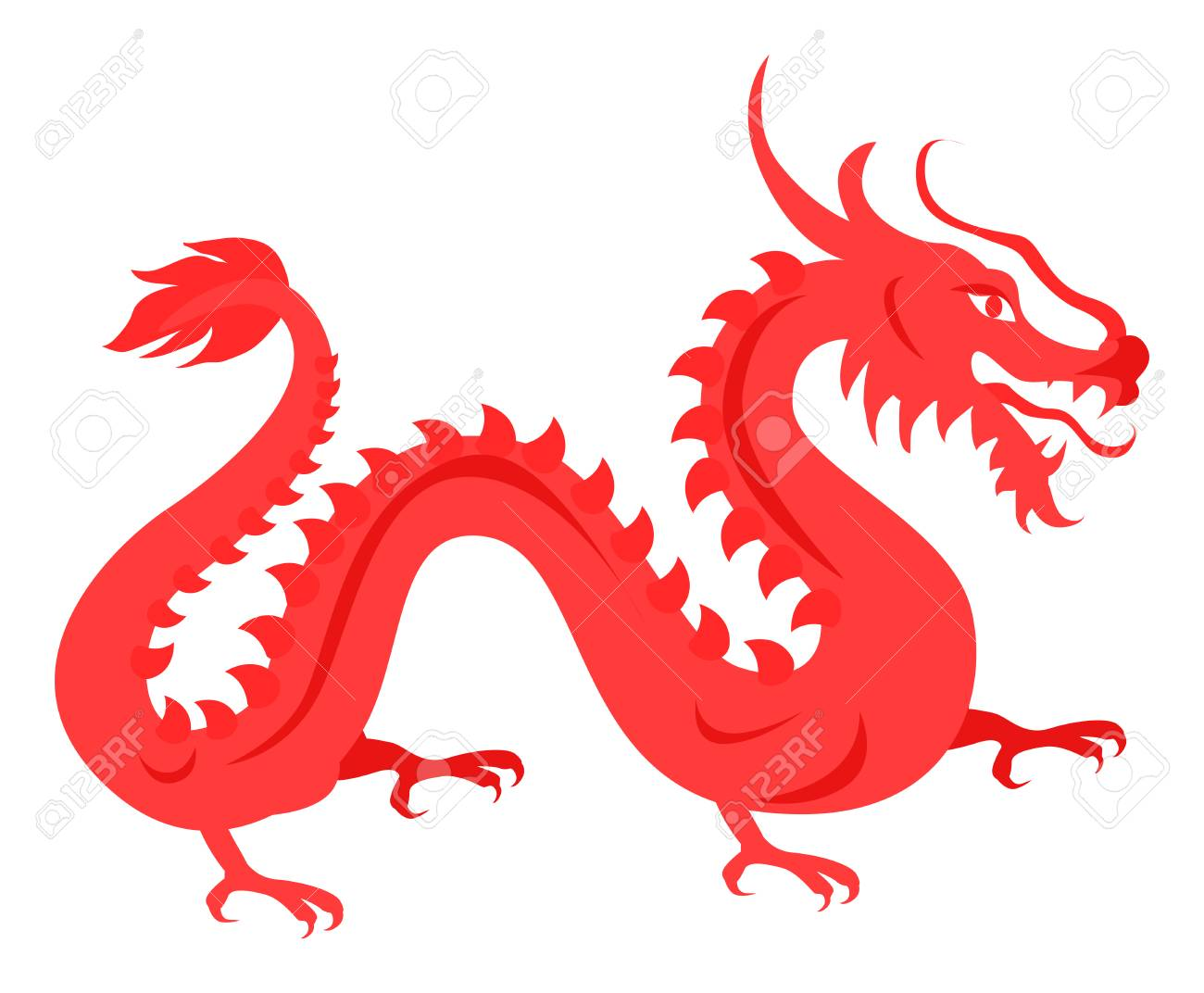 Dragon Rouge Isole Sur Blanc Symbole Chinois Clip Art Libres De