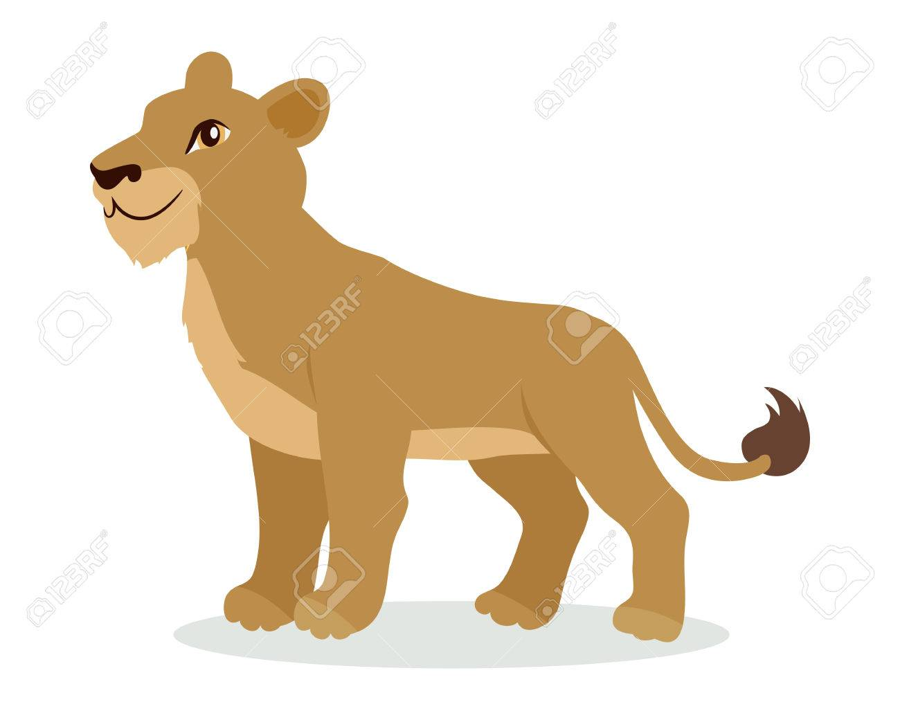 lioness or lion cub cartoon icon in flat design royalty free