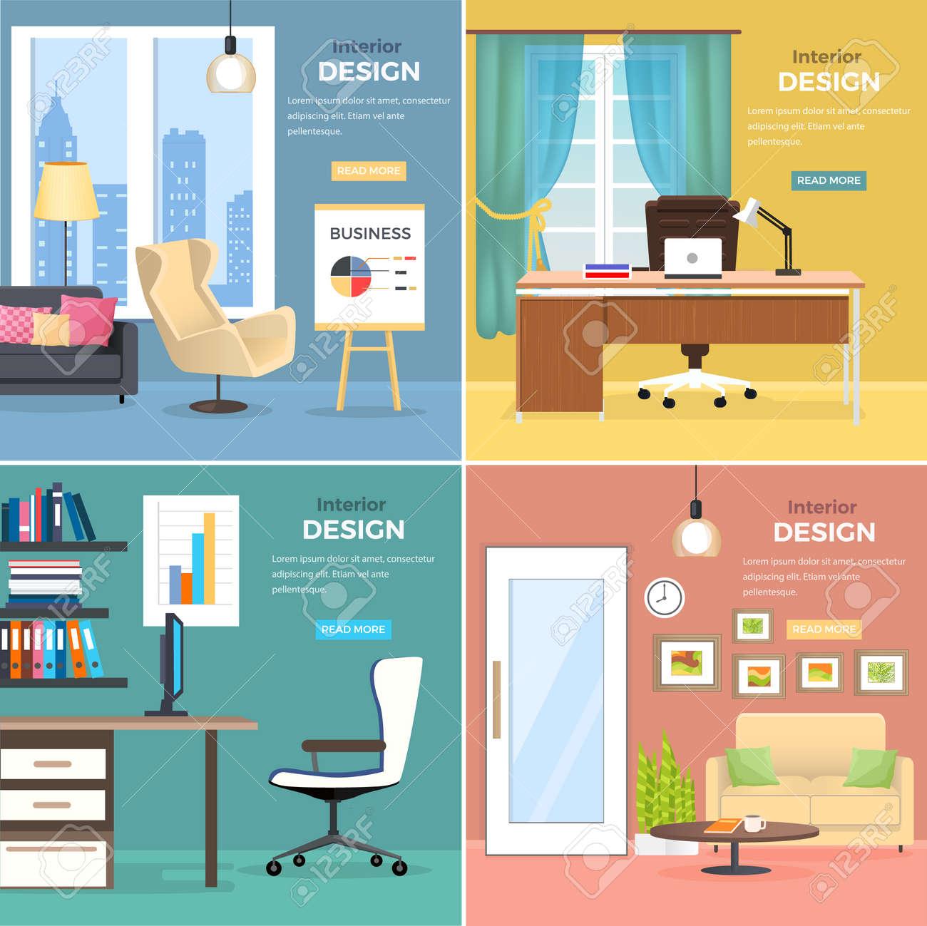 Diseño De Interiores De Habitaciones De Oficinas Con Muebles ...