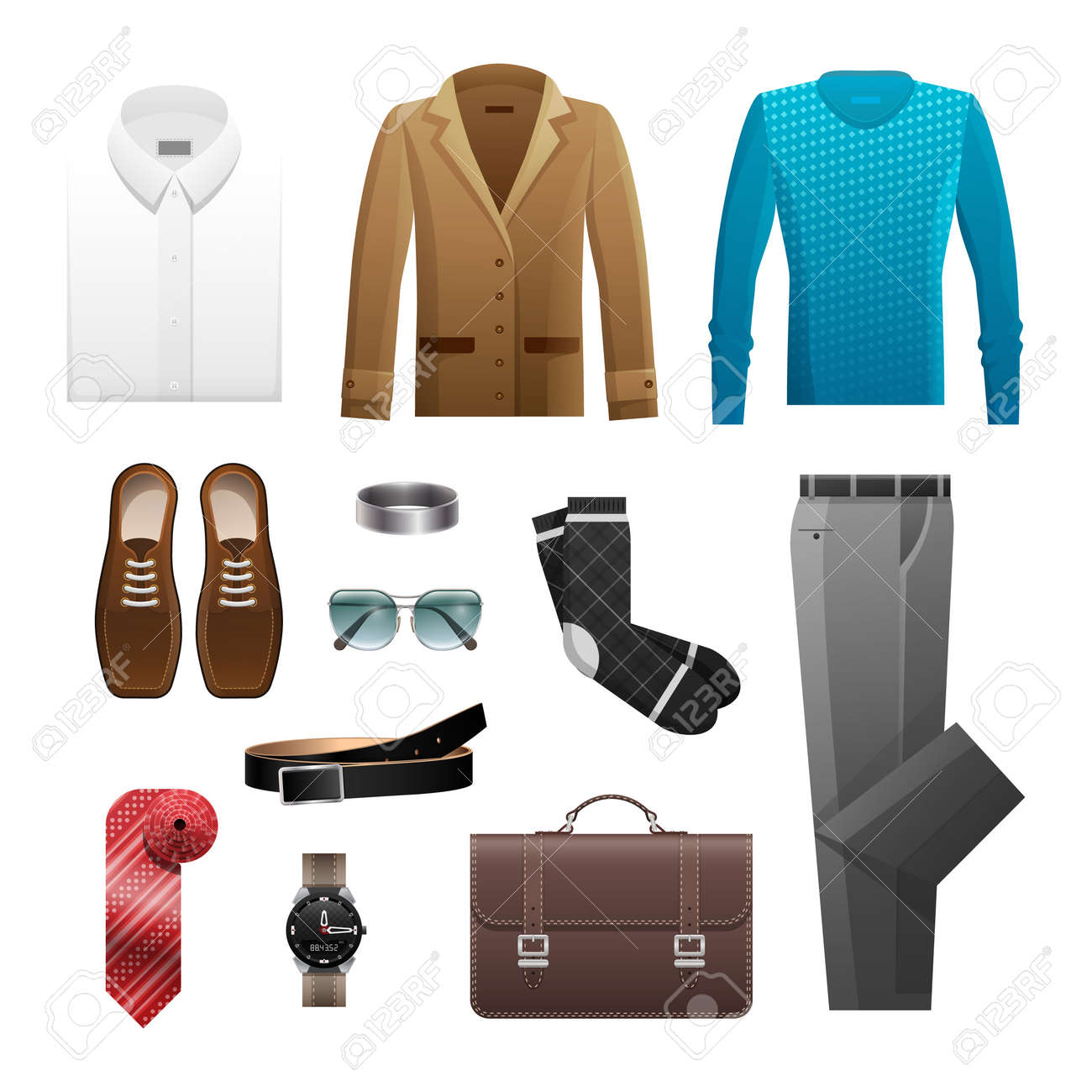 d4d65b221f0 Men S Outfits Set For Everyday Life On White Royalty Free Cliparts ...