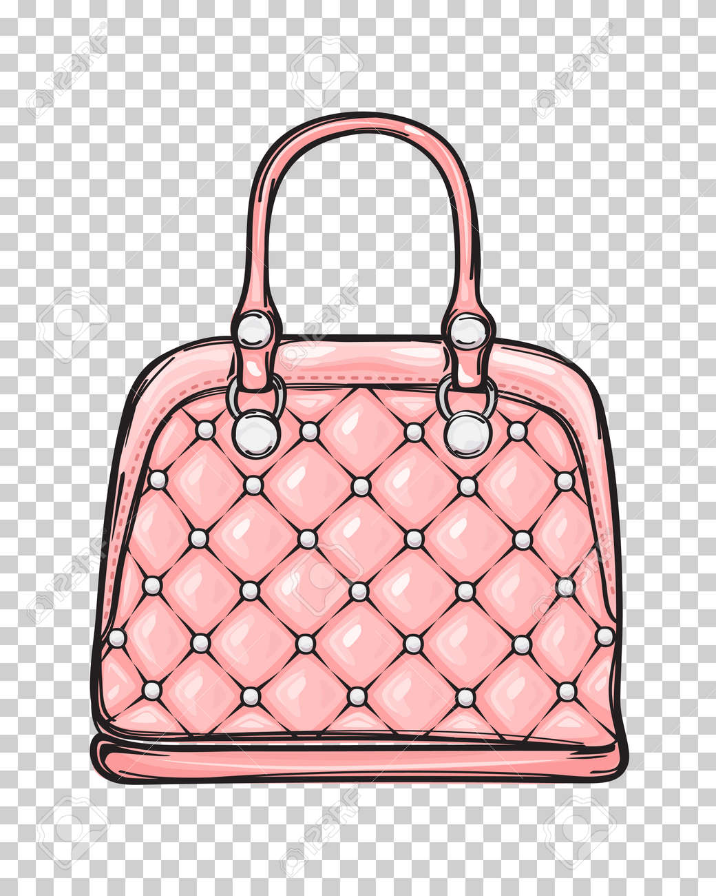 Trendy Leather Pink Bag Isolated Illustration - 84986111