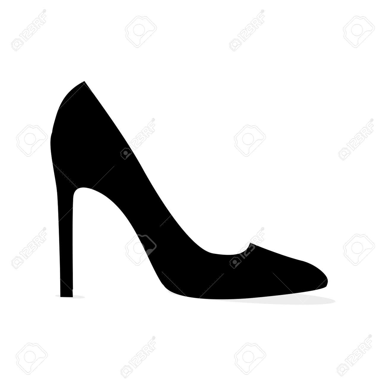 Black Modern Stilleto Shoe Isolated Silhouette - 85427402