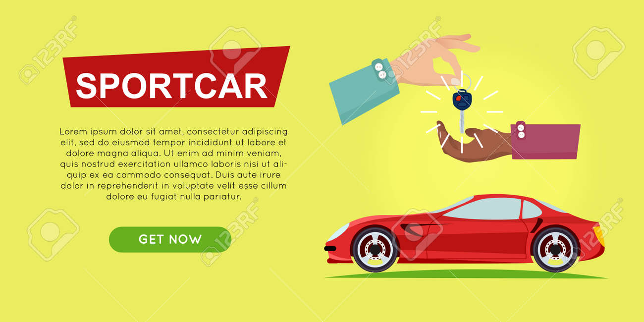 Buying Sportcar Online. Car Sale. Web Banner. Royalty Free Cliparts ...