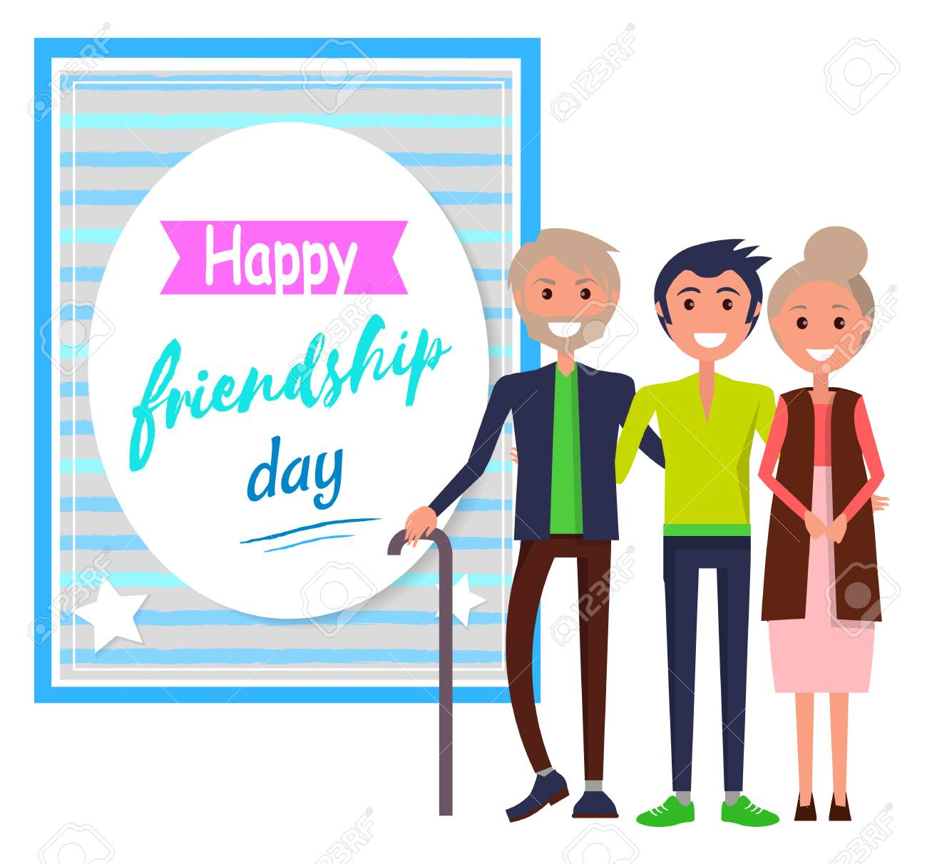 Happy Friendship Day Greeting Card With Friends Royalty Free