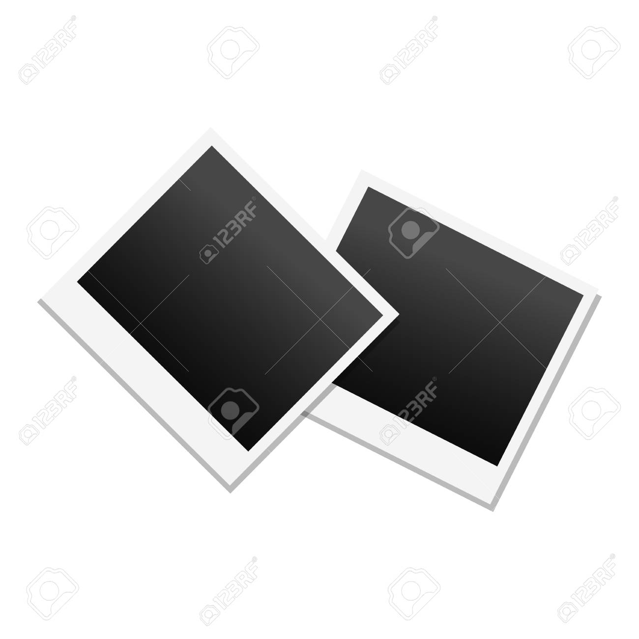 Photo Frame In Black And White Colors Vector Empty Photography