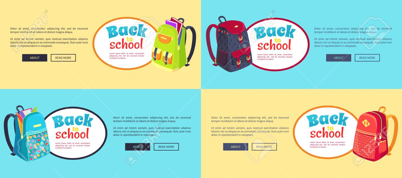 cf9074d693 Back To School Web Posters Set With Backpacks Royalty Free Cliparts ...