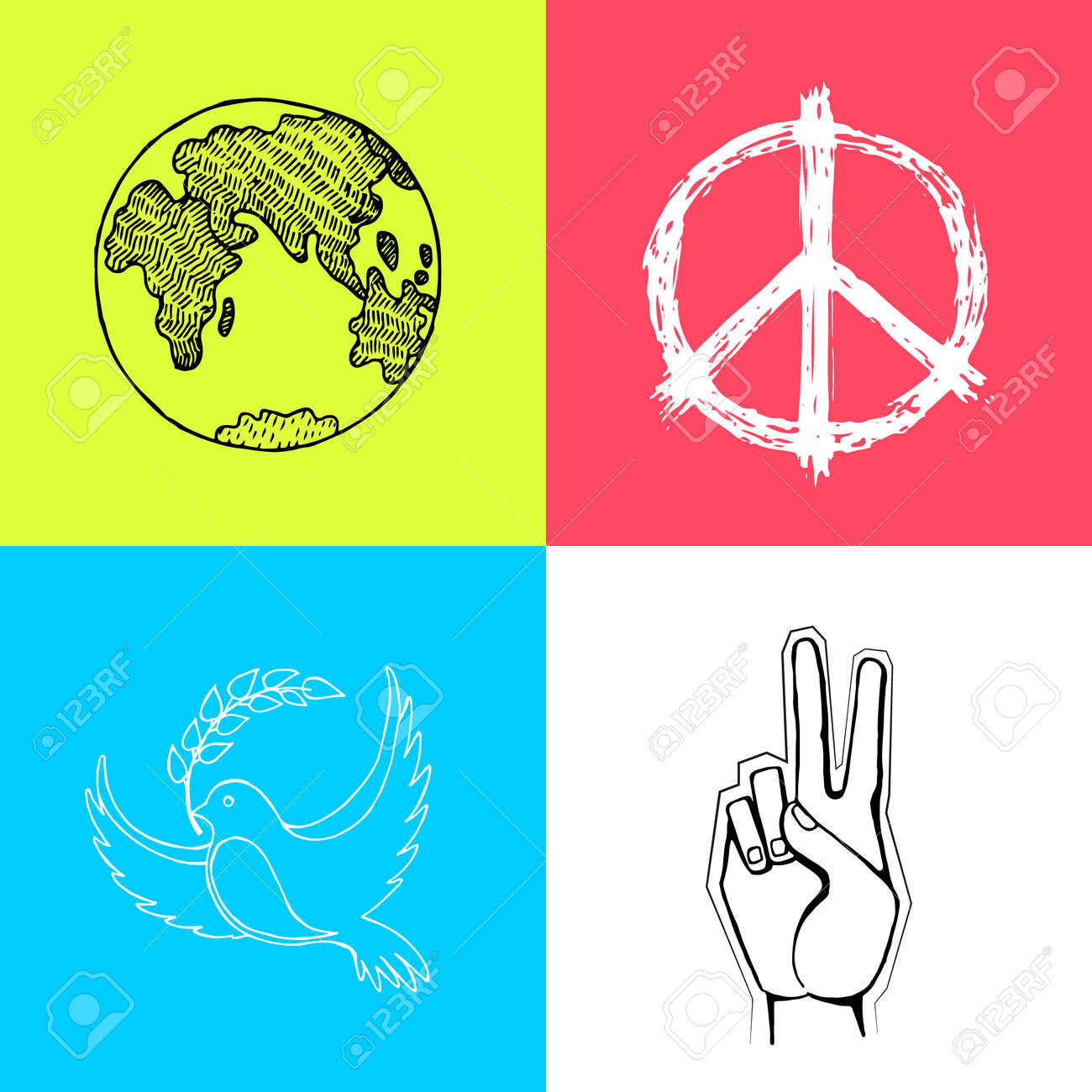 Multicolored Posters For International Peace Day Vector Famous