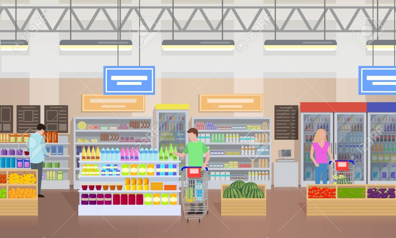 Supermarket People Shopping Vector Illustration - 90317169