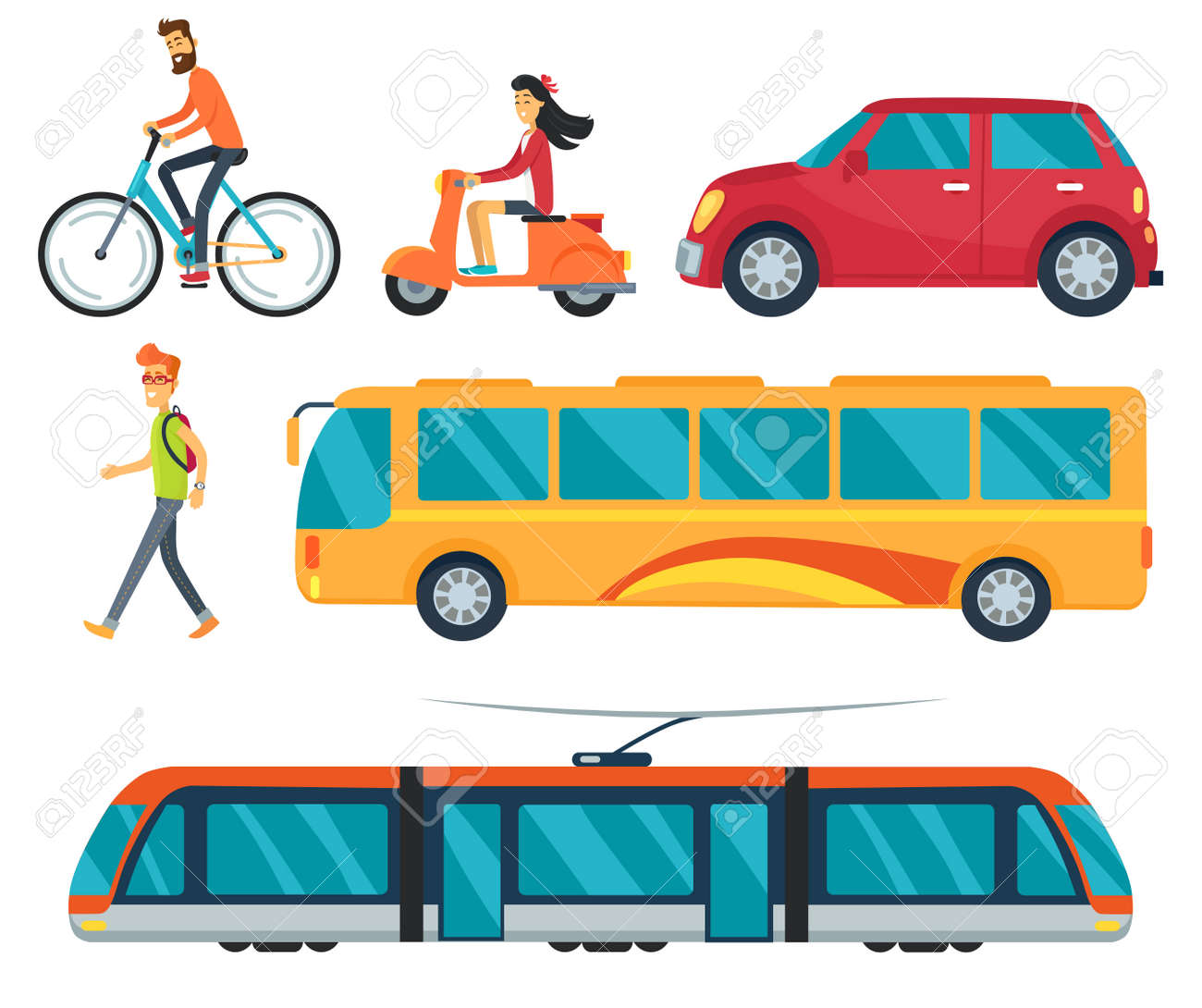 Different types of transport, icons of walking boy, cycling man, car and bus, train and woman on moped vector illustration isolated on white - 90314799