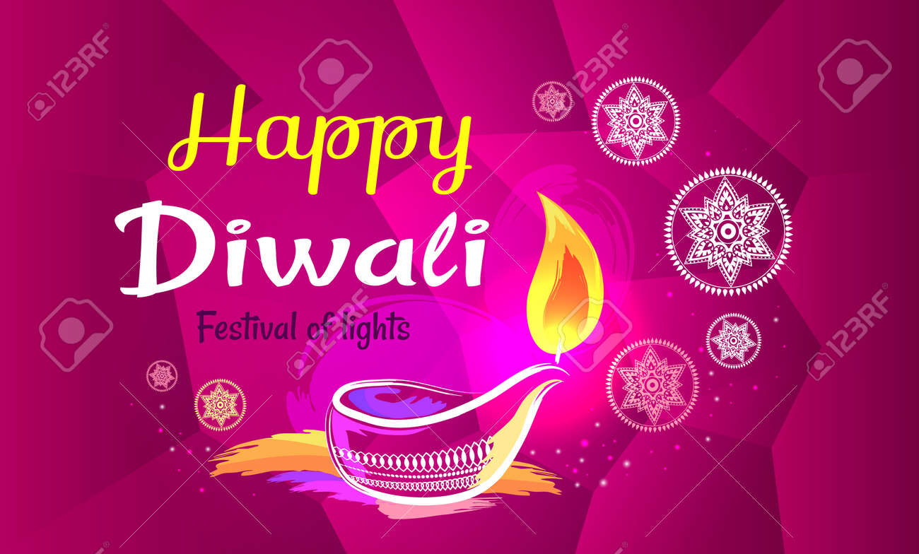 Happy Diwali Poster With Purple Pattern Backdrop Royalty Free