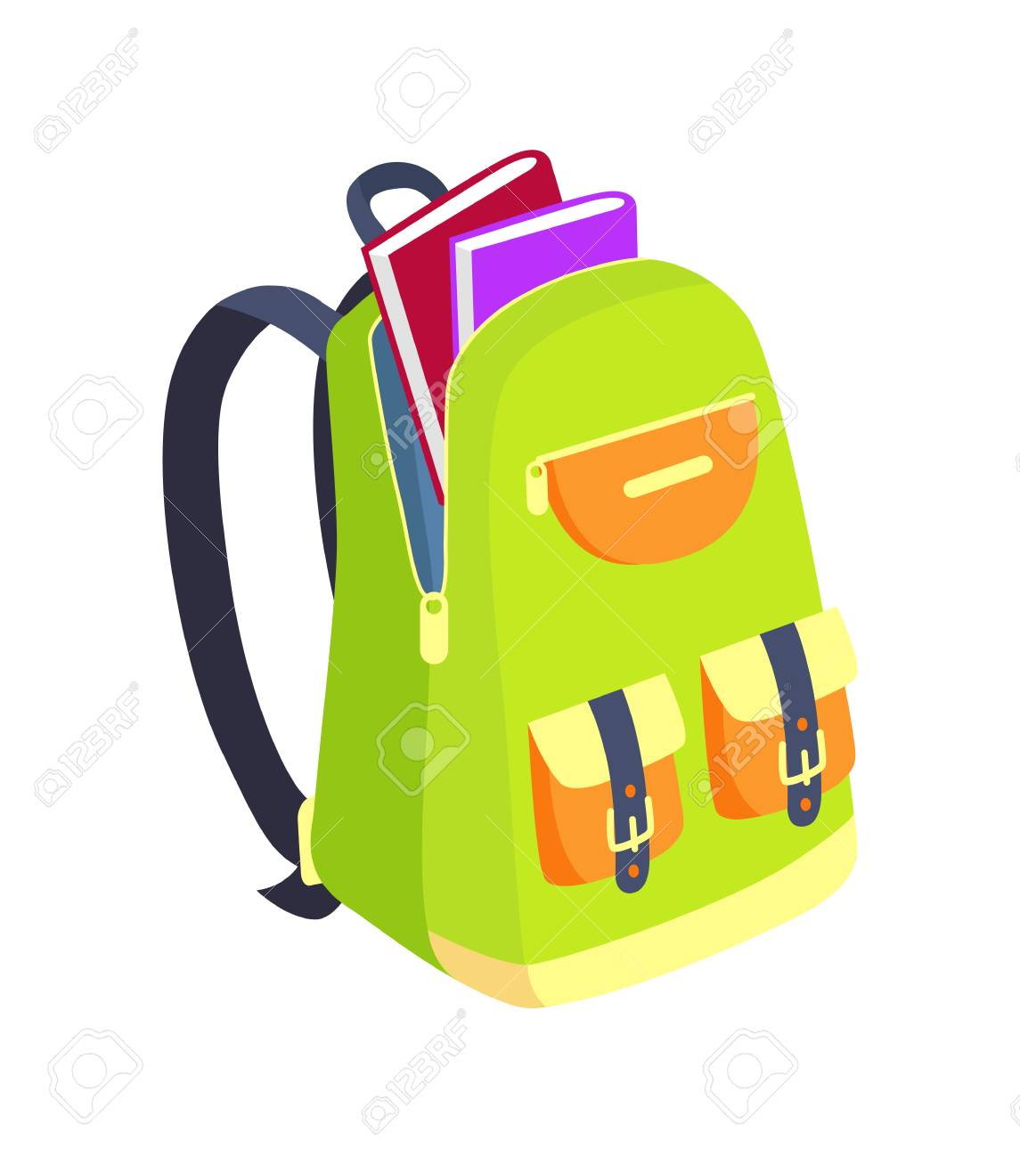 Open Schoolbag with Books Side View Vector - 90490121