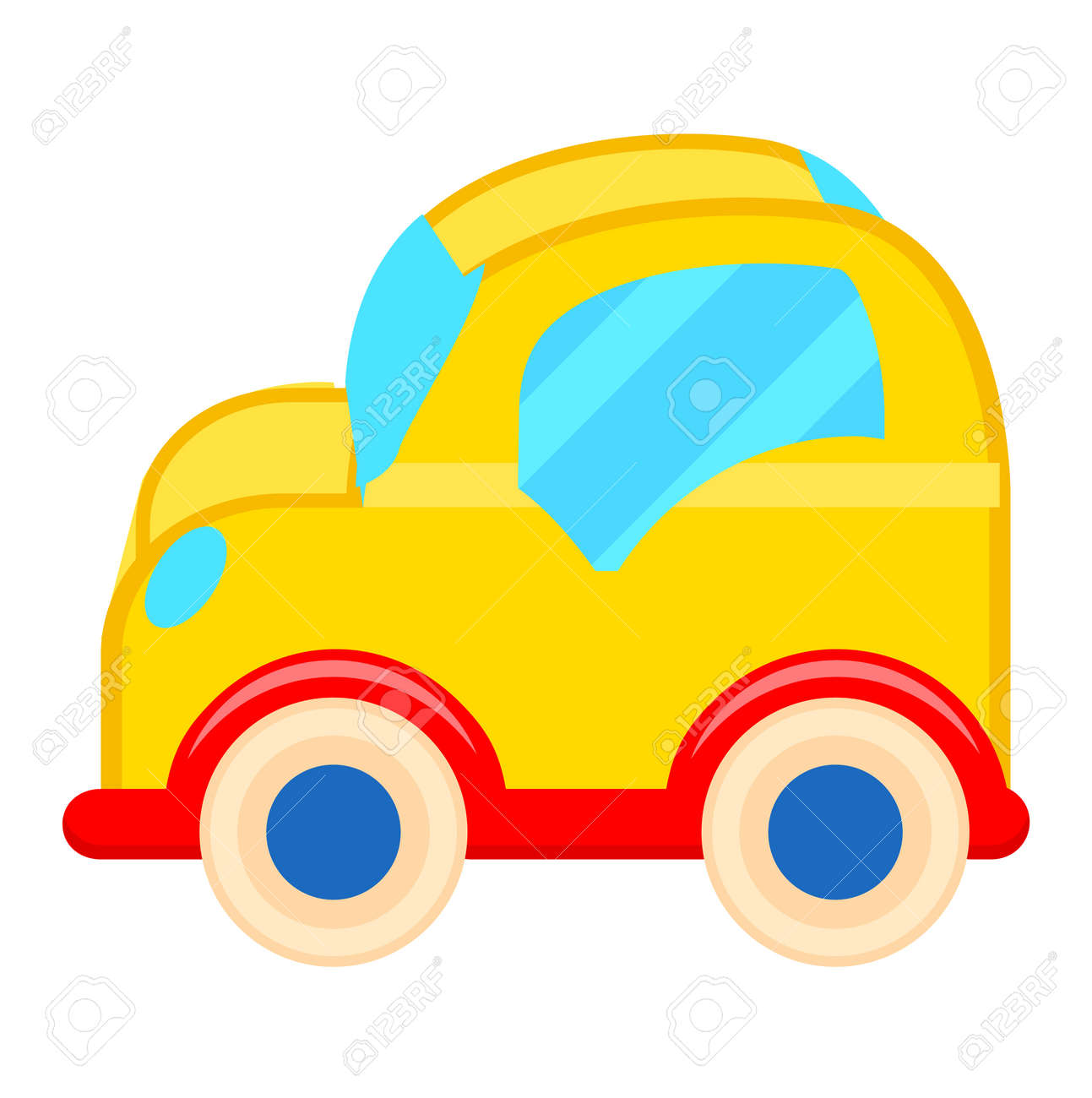 yellow toy car with white wheels illustration royalty free cliparts rh 123rf com