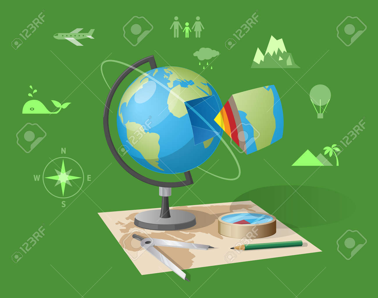 Geography class isolated vector illustration on green background geography class isolated vector illustration on green background cartoon style globe graphite pencil and gumiabroncs Choice Image