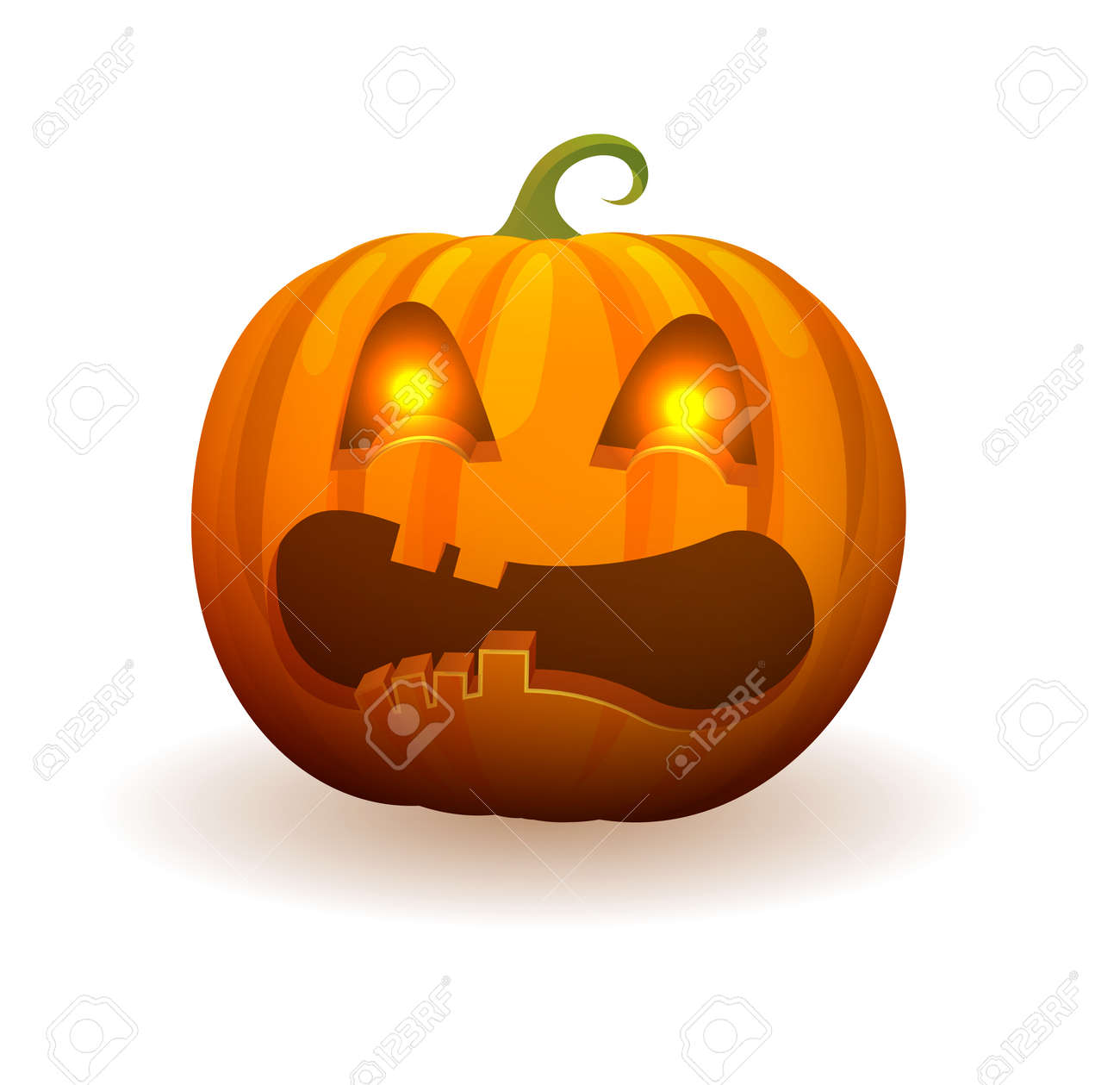 Pumpkin with lighted bright eyes, scary angry face and curled stem on top isolated cartoon vector illustration on white background. - 90770474