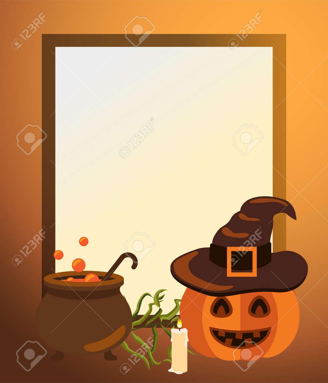 Halloween-Rahmen Mit Kürbis Im Hut, Alter Form-Bottich Lizenzfrei ...
