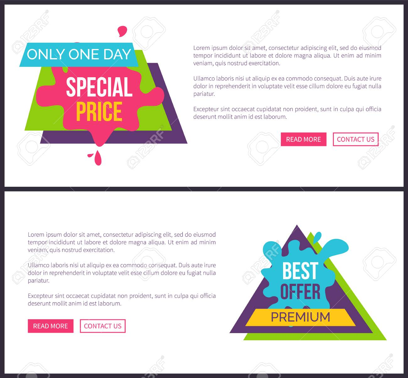 Only one day special price premium labels stickers stock vector 90839315
