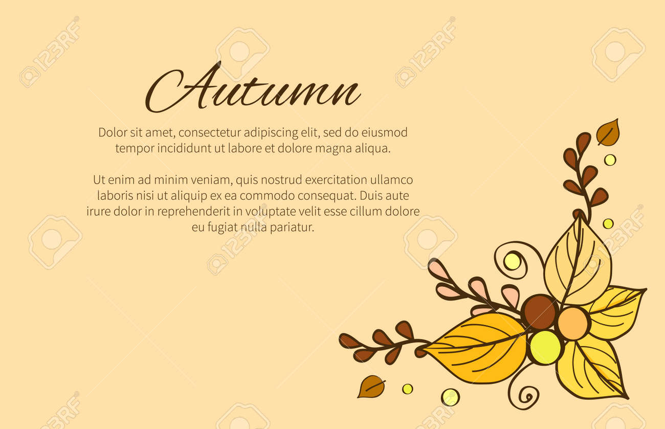 Autumn Season Greeting Card Composition Decorated Royalty Free