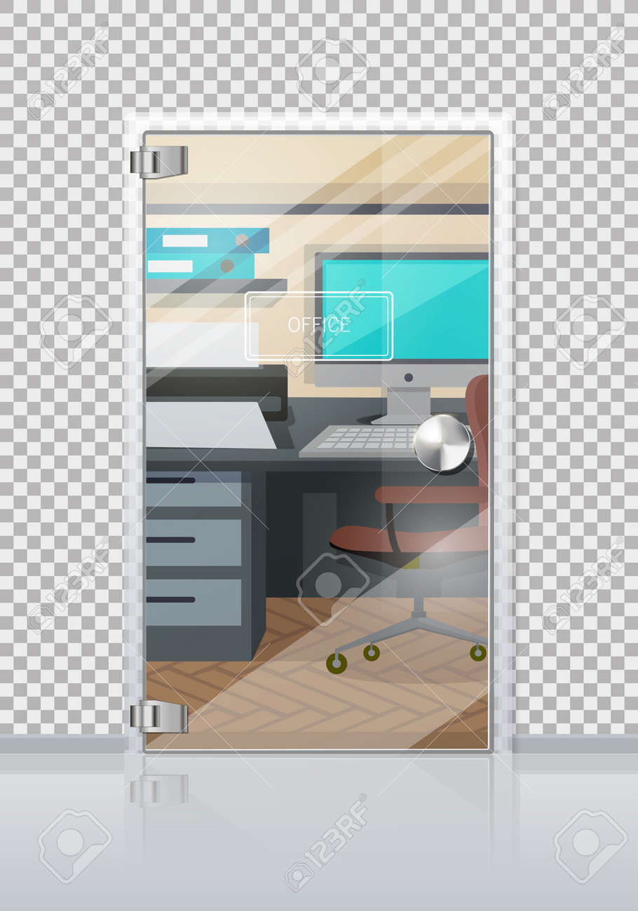 Picture of: Office Workplace Through Sliding Glass Door Entrance To The Royalty Free Cliparts Vectors And Stock Illustration Image 91033167
