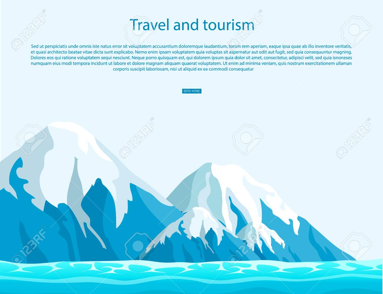 Travel and tourism sign with text on blue sky as background. Ice mountains with snow tops above ocean vector illustration. - 91033331