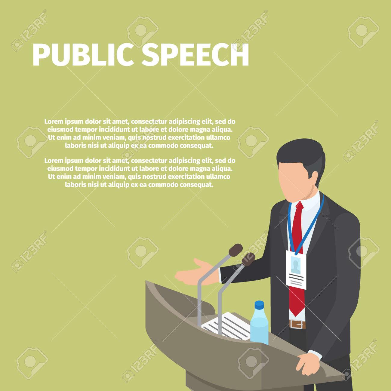 Businessman Stands behind Podium on Public Speech - 91103330