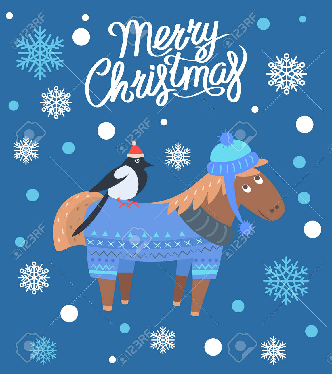 Merry Christmas Horse And Bird Vector Illustration Royalty Free Cliparts Vectors And Stock Illustration Image 91039955