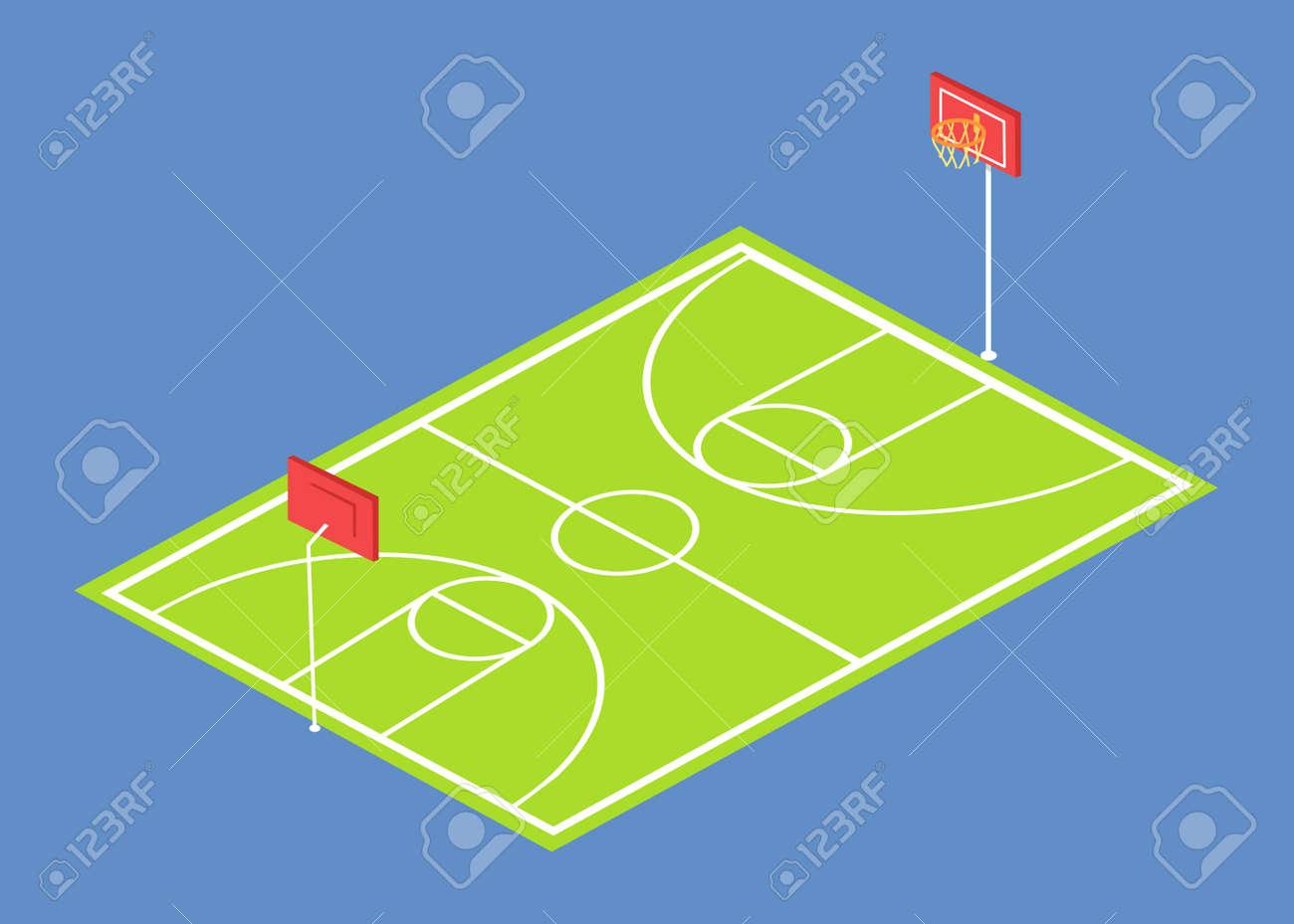 Cole stade trois dimensions vector illustration avec terrain de basket  isolé sur fond bleu  Terrain de sport avec des paniers et de l'herbe verte