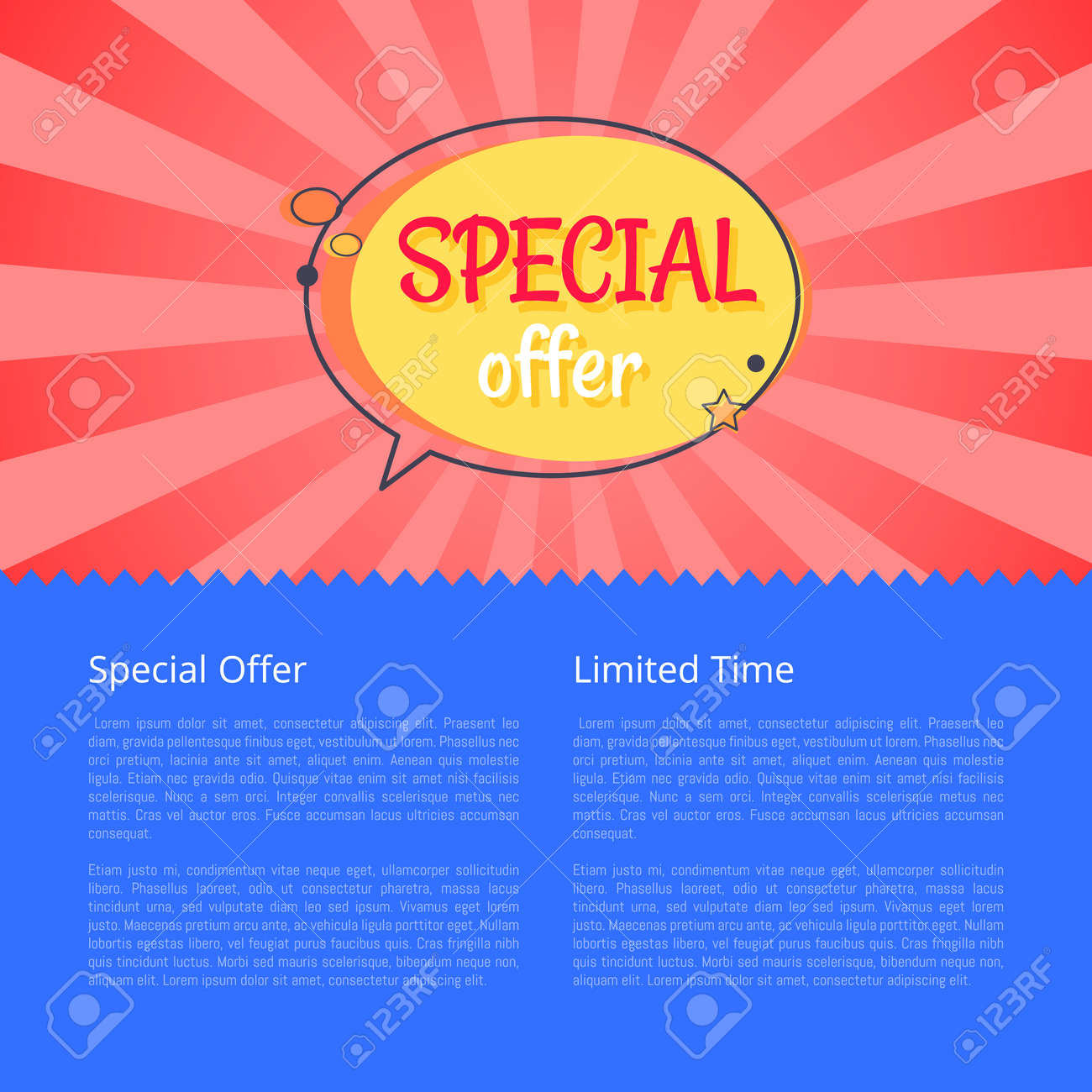 688b17ba9 Limited time special offer sale advertisement promotional poster discounts  info about reducement of prices for some