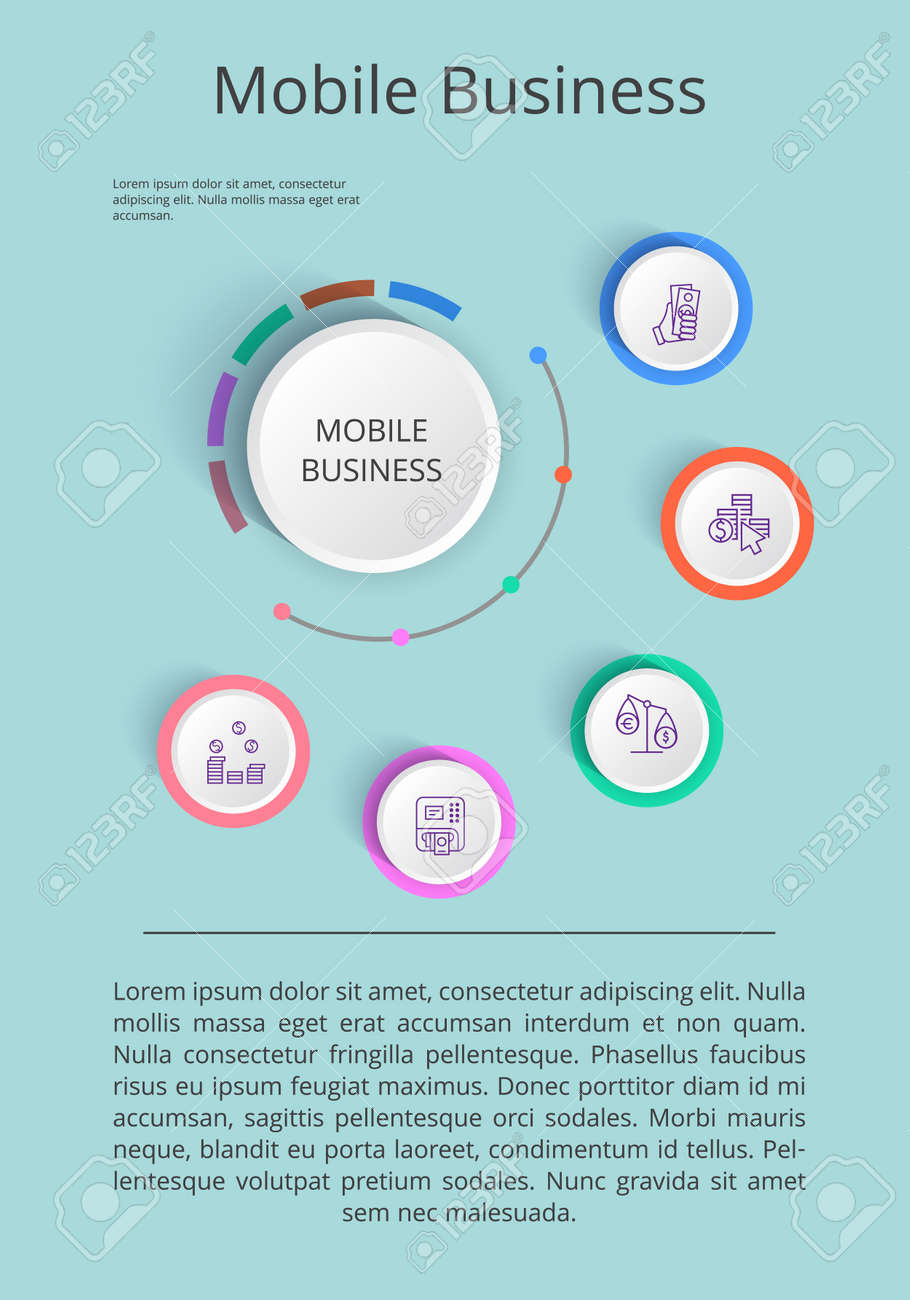 Mobile business solution presentation with icons of income statistics