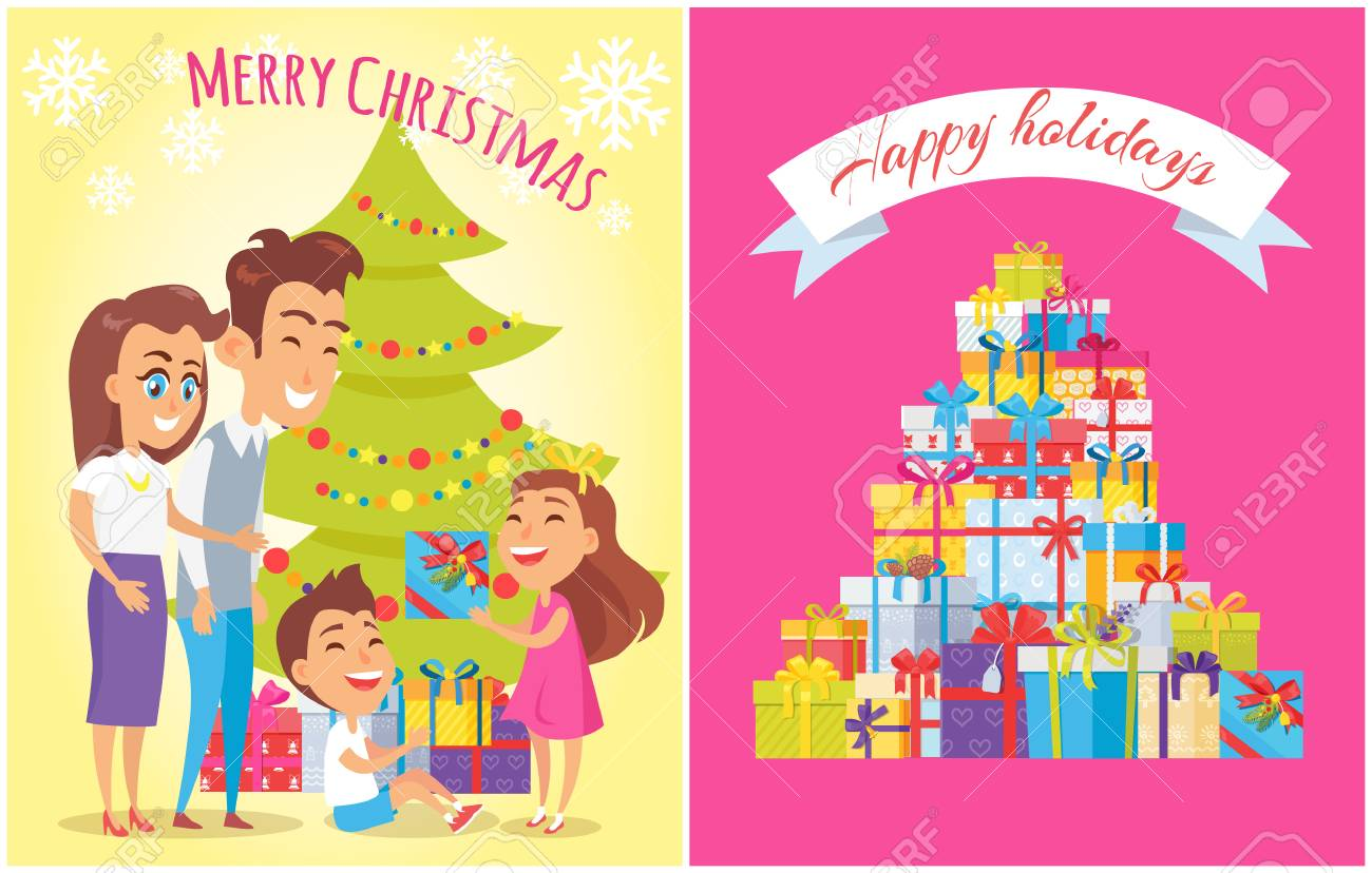 I Cartelloni Di Buon Compleanno E Di Buon Natale Con I Nastri E Le
