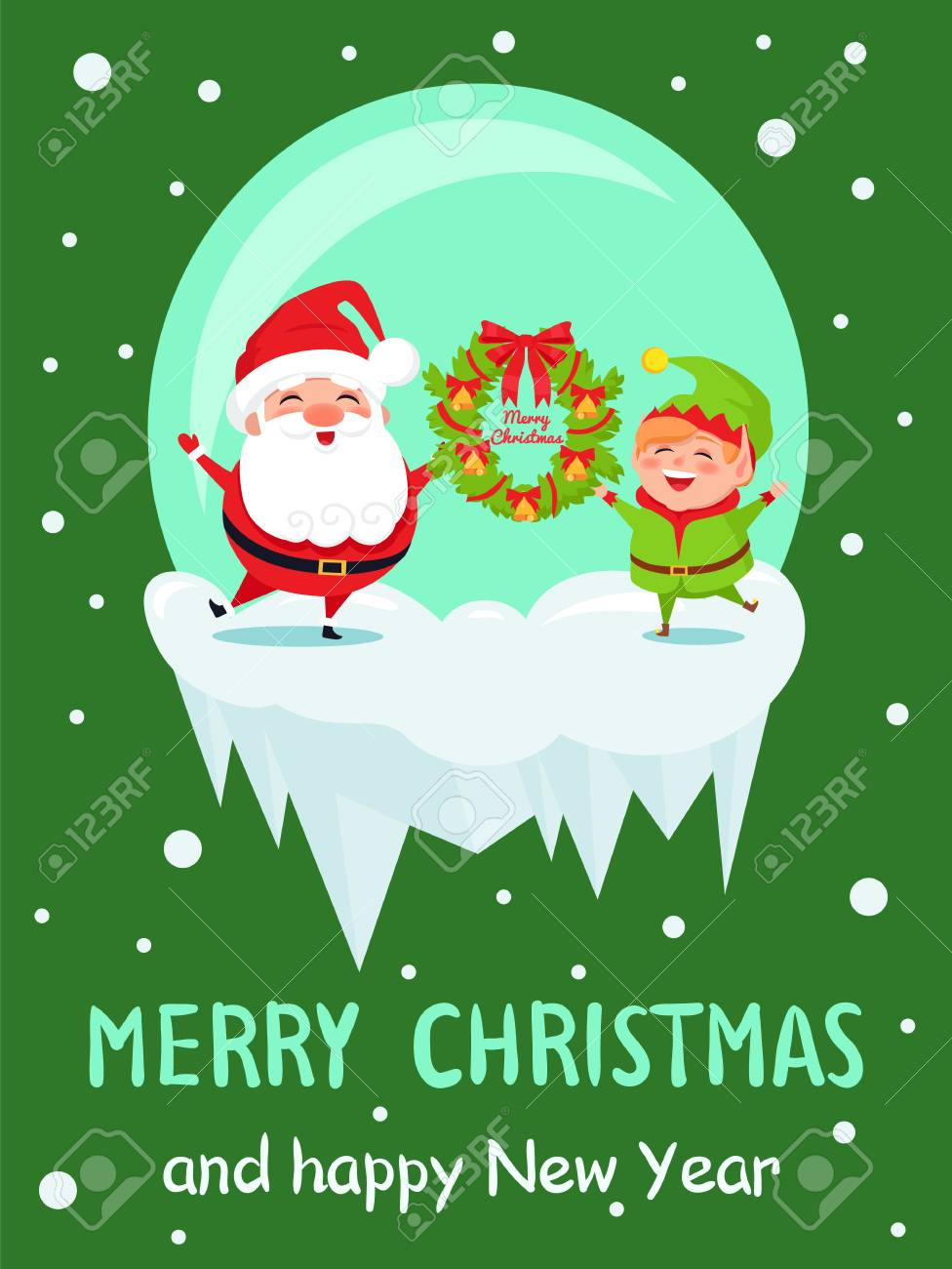 merry christmas and happy new year poster with elf and santa in crystal ball greeting everyone
