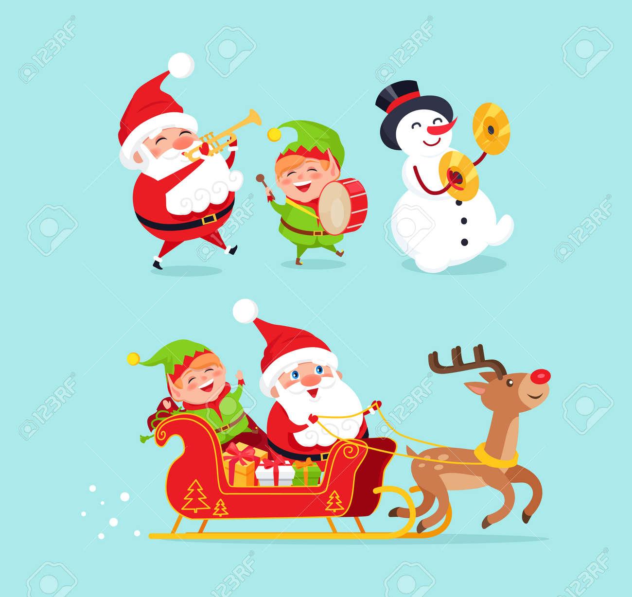 黒い帽子をかぶった伝統的な衣装と雪だるまを身に着けているサンタクロースドラム付きエルフそりトナカイのプレゼントキャラクターベクトルイラスト
