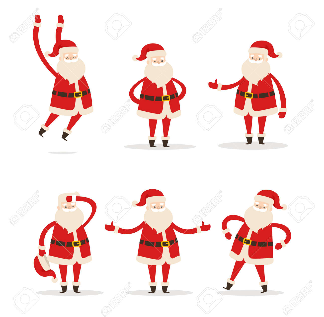 Set of Santa Clauses in Different Pose Vector Icon - 91709581
