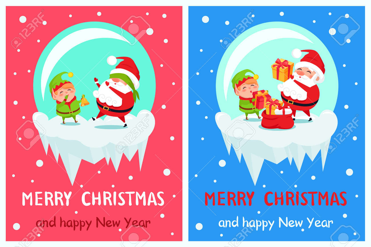 happy new year merry christmas posters set santa and elf on icy