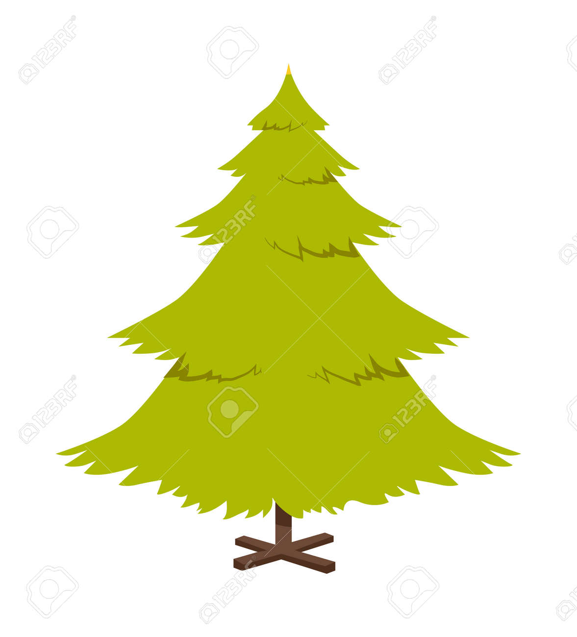 Christmas Pine Tree Poster With Symbolic Decoration During