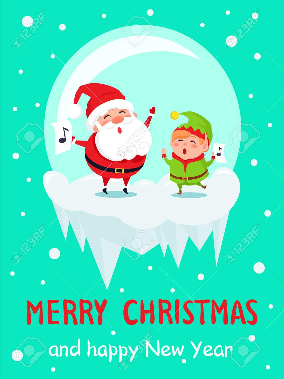 Villancico Feliz Navidad A Todos.Feliz Navidad Feliz Ano Nuevo Cartel Santa Y Elf En Bola De Cristal Cantan Alegremente Canciones De Villancicos Con Signo De La Nota En La Ilustracion