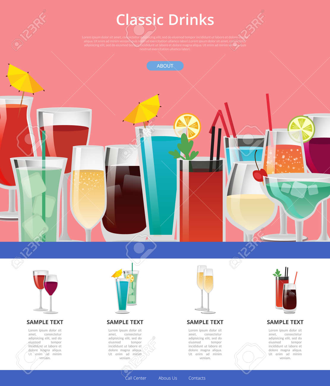 Classic Drinks Web Poster with Samples of Alcohol. - 91884465