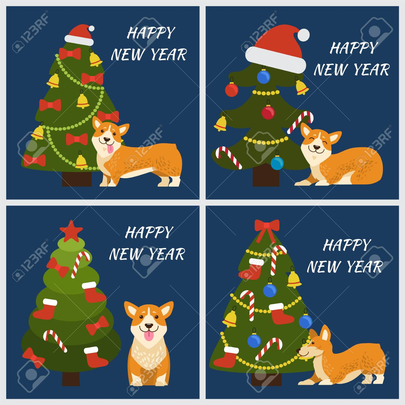 Happy New Year Greeting Cards With Playful Corgi Dog And Decorated ...