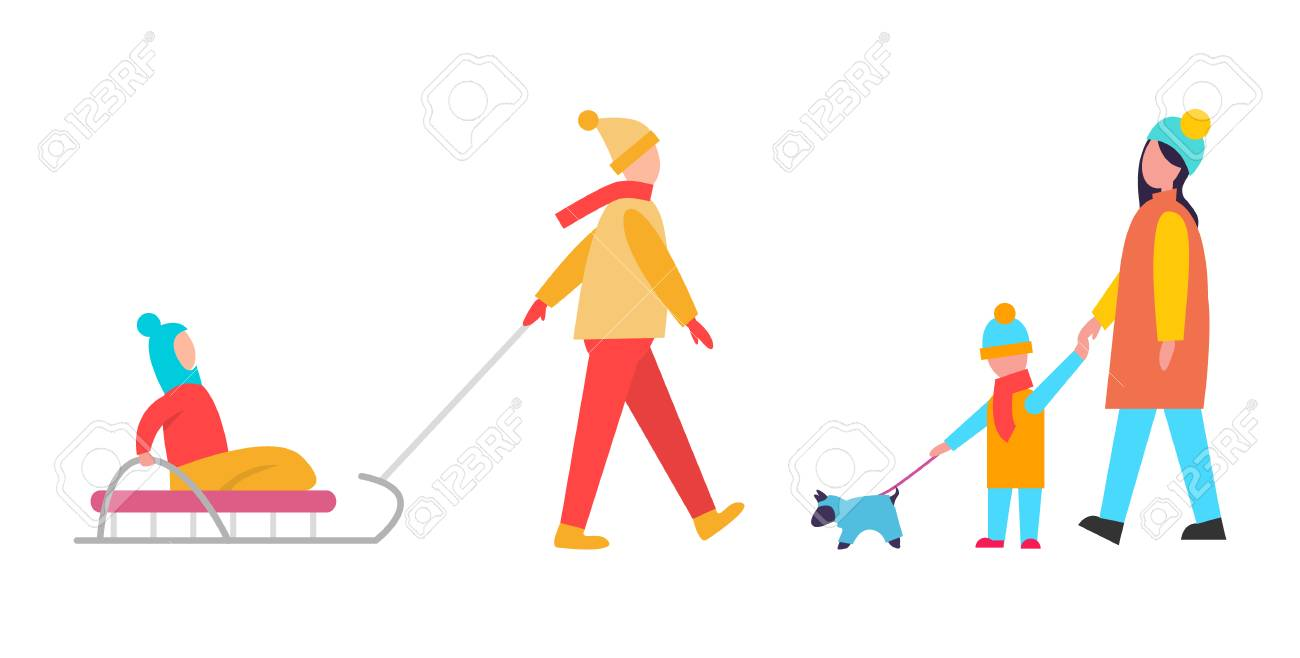 family activities during wintertime mommy with son walking dog