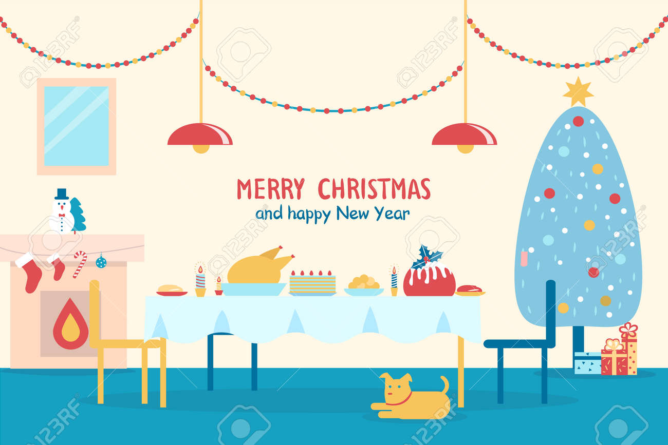 merry christmas and happy new year banner with served table fireplace and traditional decorated