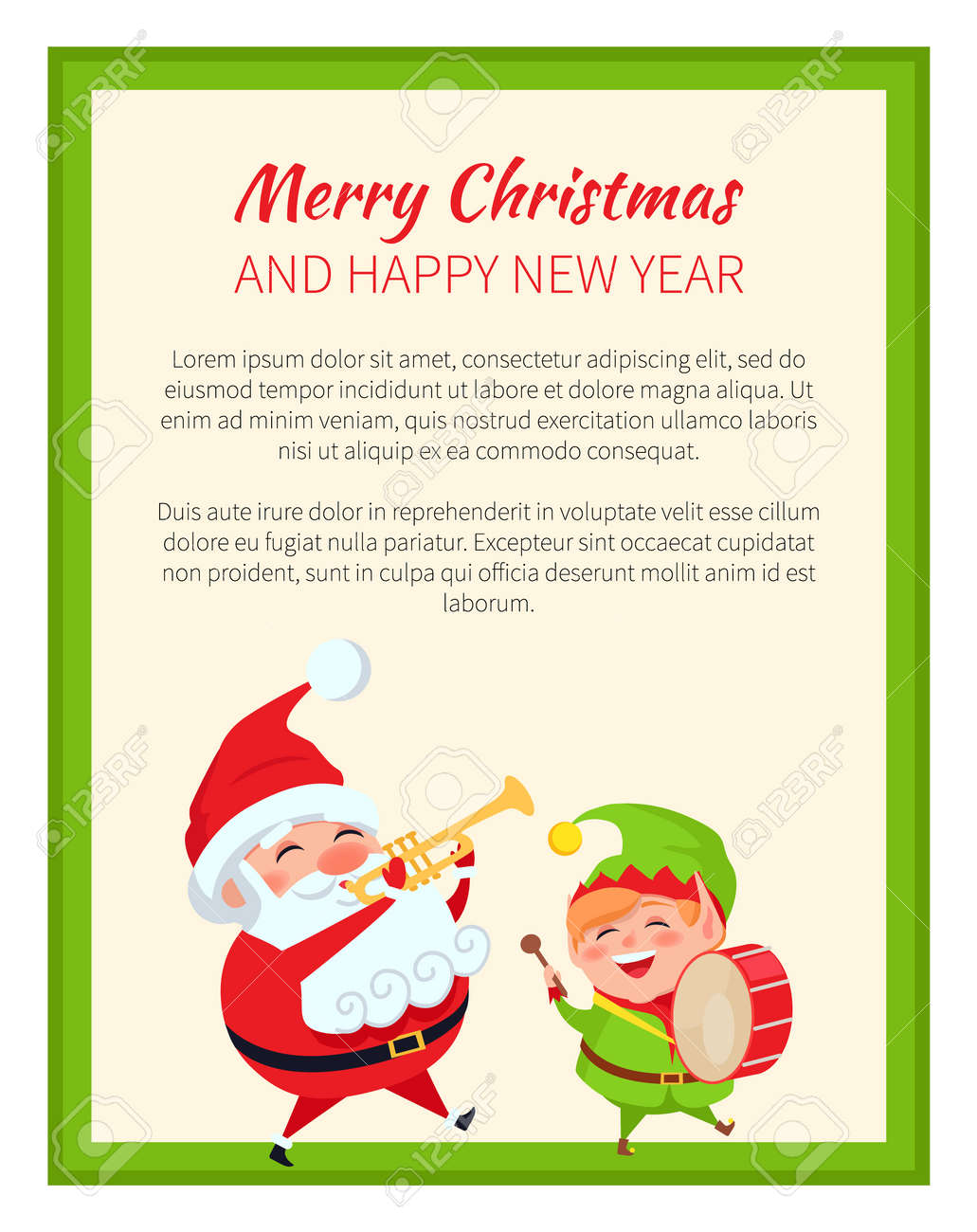Merry Christmas Happy New Year Santa Claus And Card Royalty Free ...