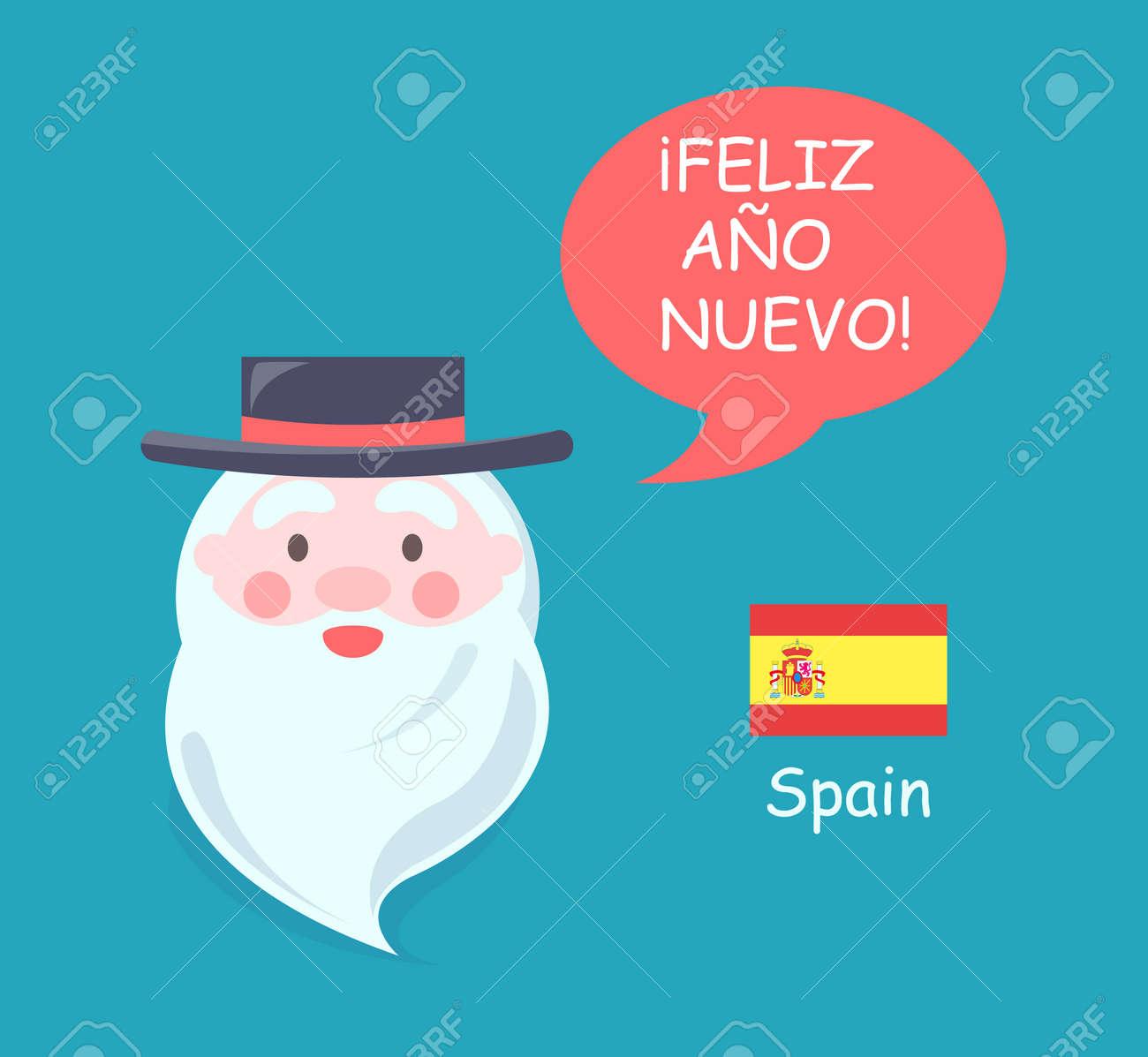 Espanha Papai Noel Tradução Ligado Espanhol De Feliz Ano Novo Frase Homem Barbudo Desgastar Chapéu Preto Vetorial Ilustração Isolado