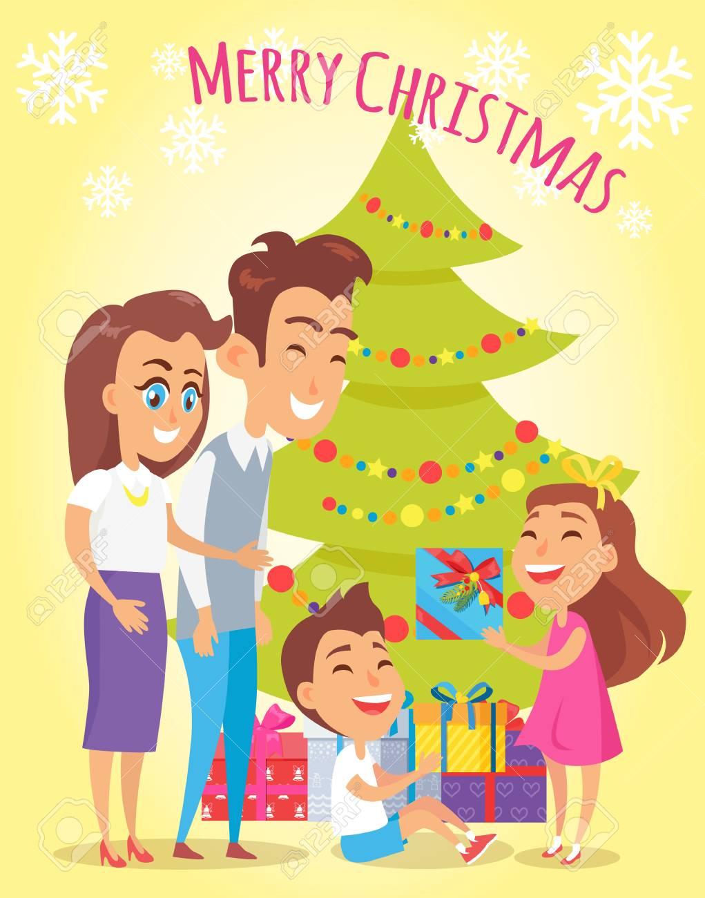 40f3e4f0d6bf9 Cartel de vacaciones familiares de feliz Navidad con padres dando regalos a  los niños. Ilustración