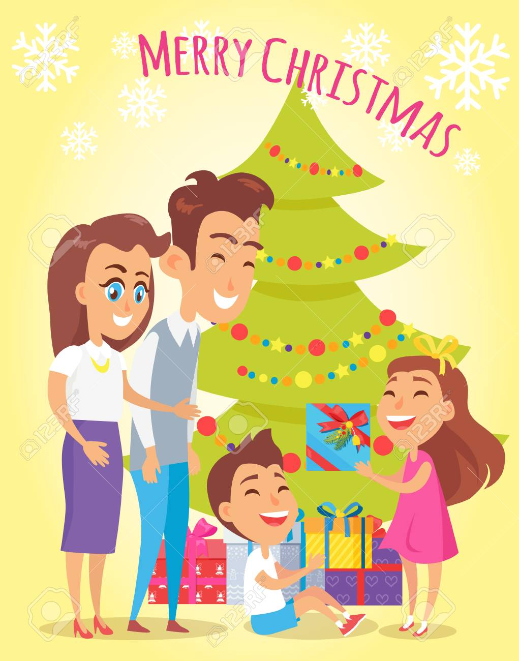Merry Christmas Family Holiday Poster With Parents Giving Gifts ...