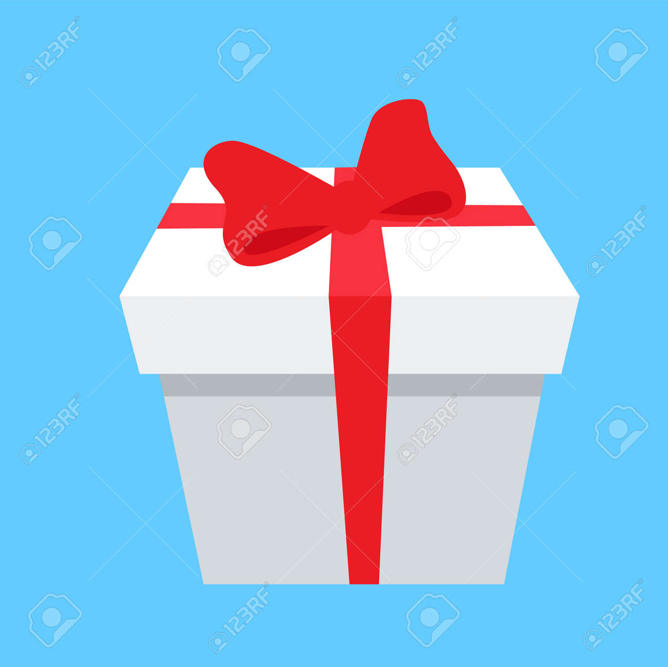 Gift Box Icon With Red Bow And Ribbon Isolated On Blue Background Royalty Free Cliparts Vectors And Stock Illustration Image 92172340